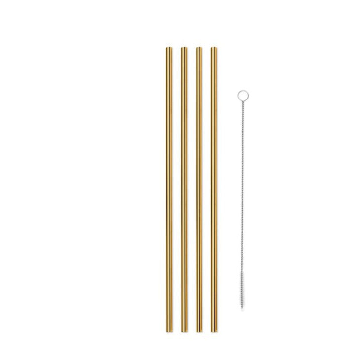 GOLD METAL STRAWS 10in (SET OF 4)