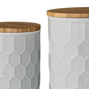 WHITE HONEYCOMB JAR SET