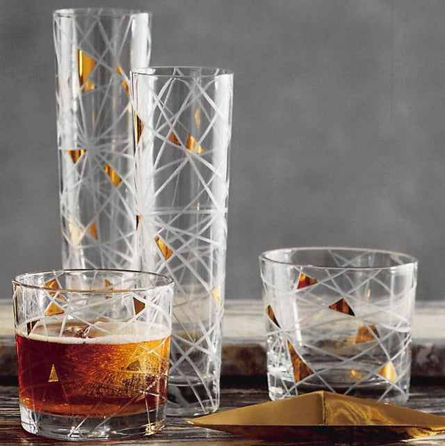GOLD GEO ETCHED GLASSES