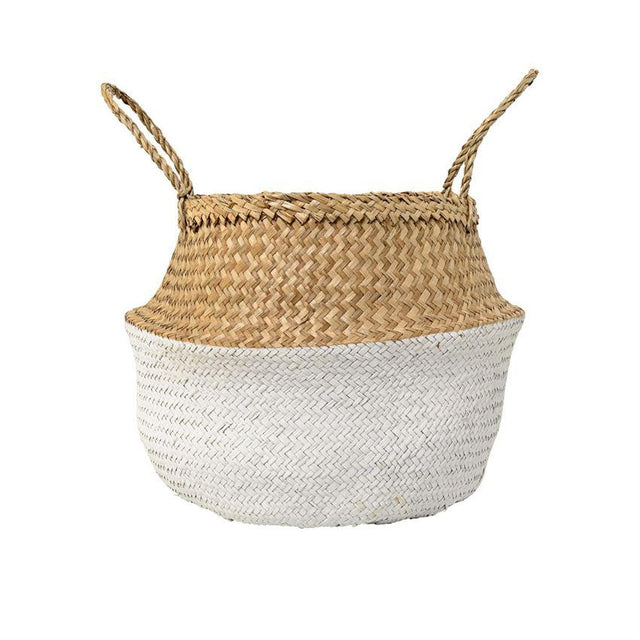 WHITE SEAGRASS HANDLE BASKETS