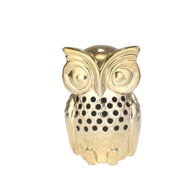 GOLD CERAMIC OWL 10""