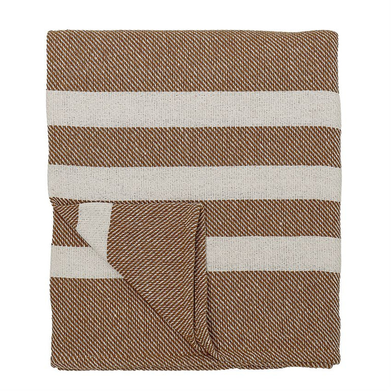 WHITE/RUST STRIPED KNIT THROW BLANKET