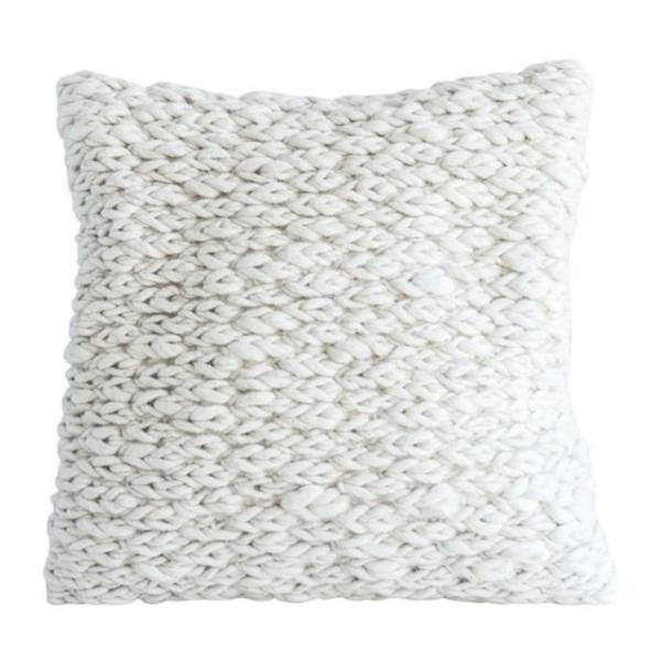 WHITE WOOL CABLE KNIT PILLOW