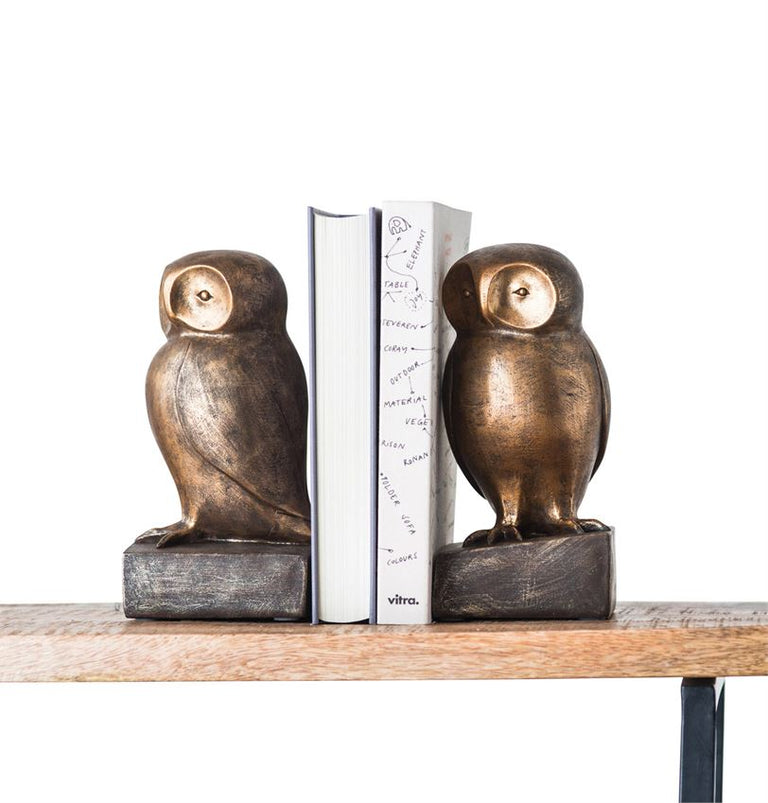 BRONZE OWL BOOKENDS
