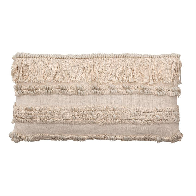 CREAM WOVEN LUMBAR PILLOW W/ FRINGE