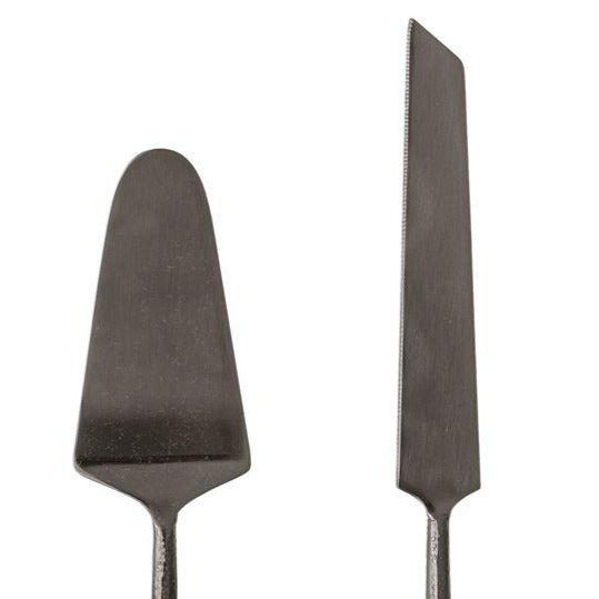 BLACK STEEL CAKE SERVER SET