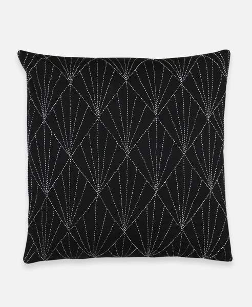 BLACK PRISM STITCH THROW PILLOW