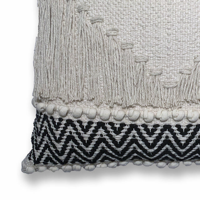 BLACK/IVORY DIAMOND FRINGE BOHO PILLOW