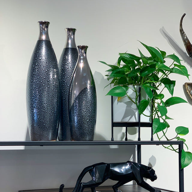 BLACK & SILVER BOTTLE VASES