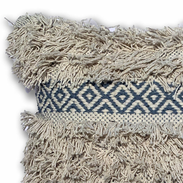 BLUE/IVORY BOHO FRINGE PILLOW