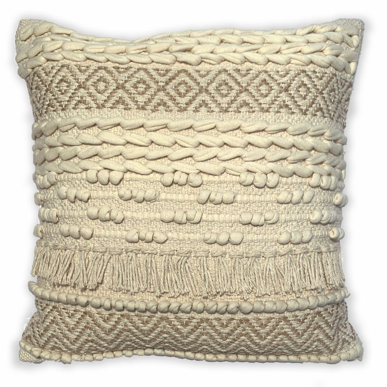 SAND DIAMONDS WOVEN BOHO PILLOW