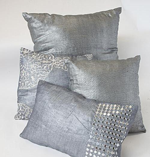 SILVER LINEN THROW PILLOW (INDIA)