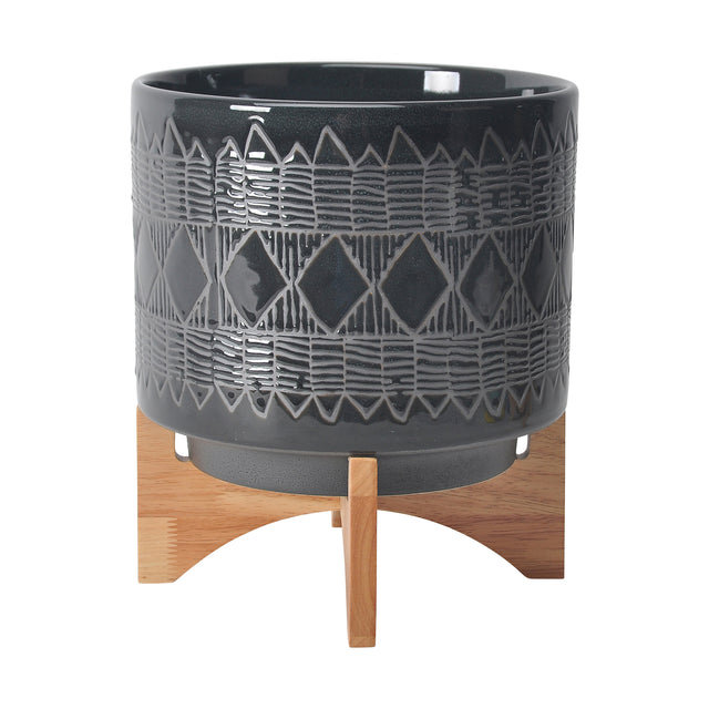 BLACK CERAMIC AZTEC PLANTERS ON WOOD STAND