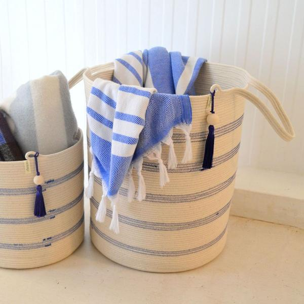 IVORY COTTON STRIPED FLOOR BASKETS (SOUTH AFRICA)