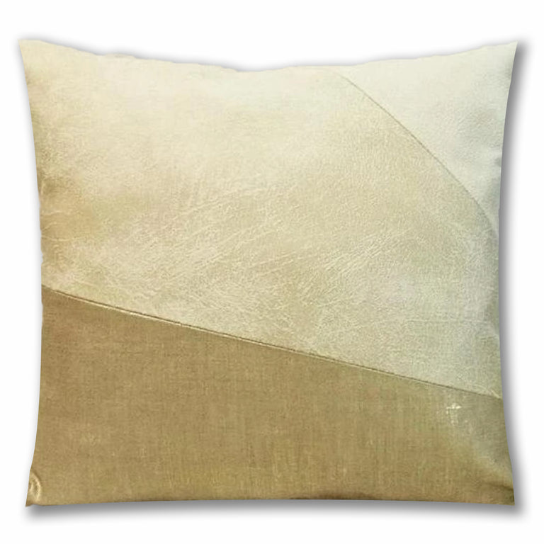 GOLD & WHITE VEGAN LEATHER PILLOW 20""