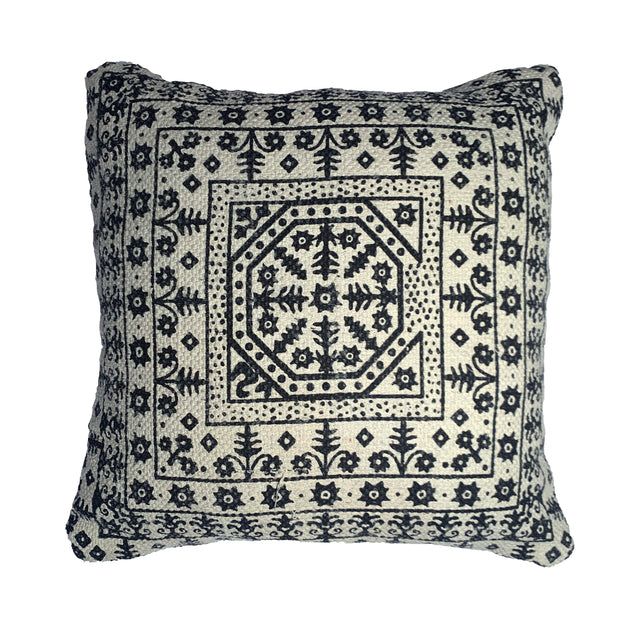 GREY BOX MANDALA PILLOW