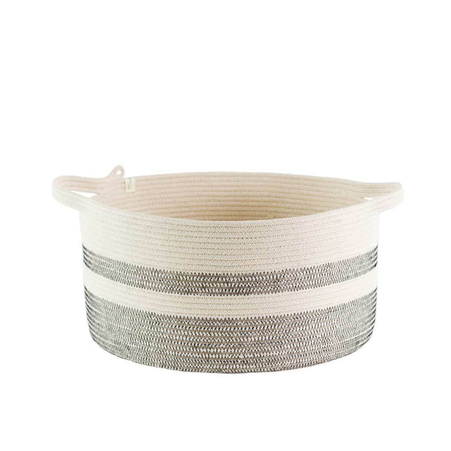 IVORY COTTON STRIPED HANDLE BASKET (SOUTH AFRICA) | STORAGE | STAG & MANOR