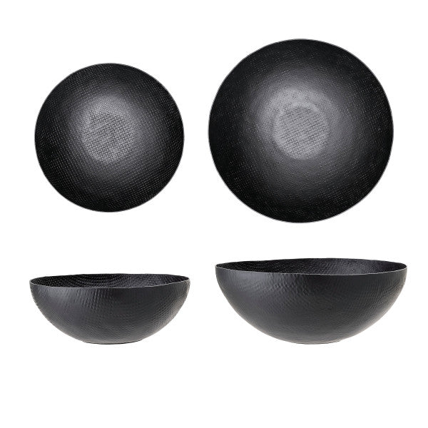 BLACK METAL BOWL SET