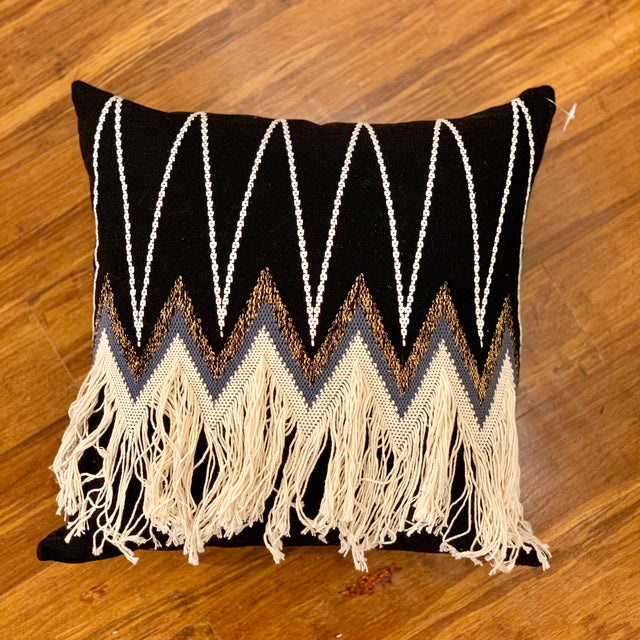 BLACK ARROW FRINGE THROW PILLOW <br>(FROM GUATEMALA)