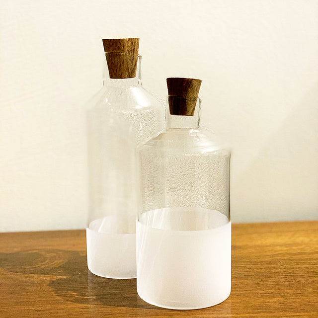 MORANDI FROST GLASS OIL & VINEGAR CRUETS