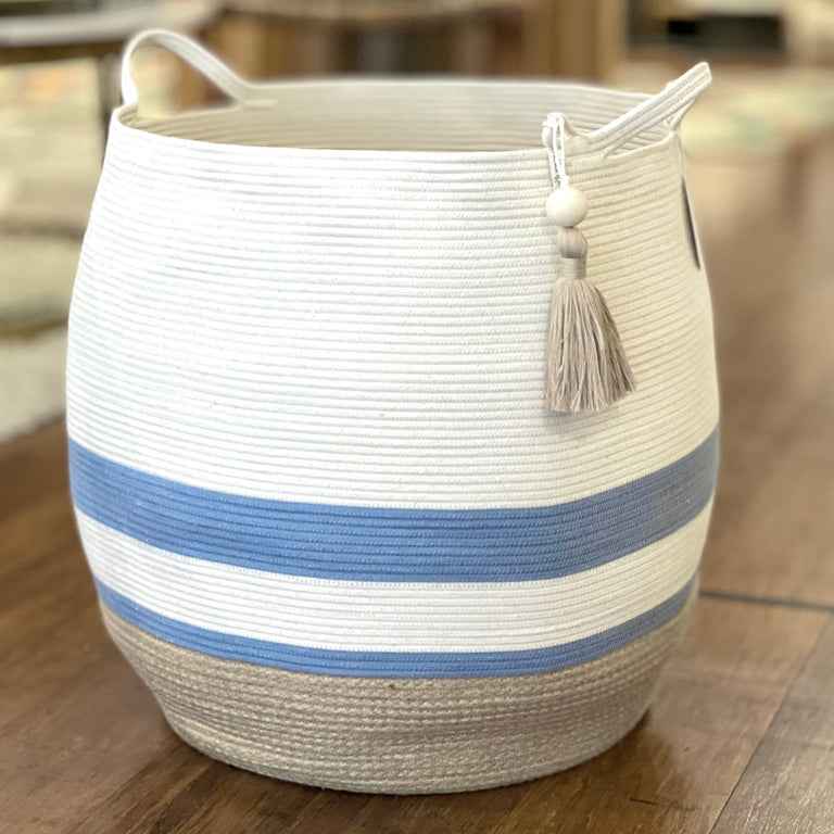 JUTE & BLUE-GREY COTTON ROUNDED FLOOR BASKETS (SOUTH AFRICA)