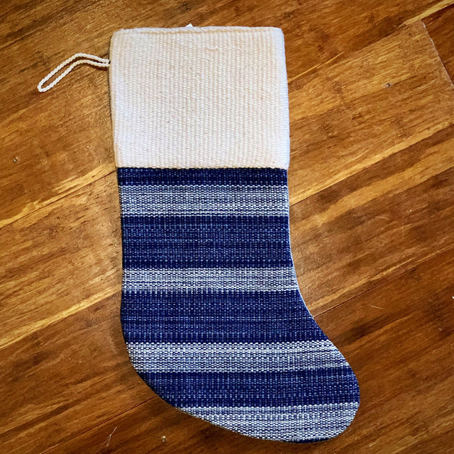 BLUE BONE HANDWOVEN STOCKING <br>(FROM GUATEMALA)