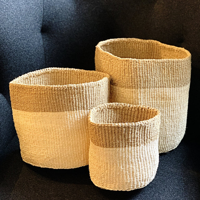 CREAM & TAUPE TWILL SISAL NESTING BASKETS <br>(FROM KENYA)