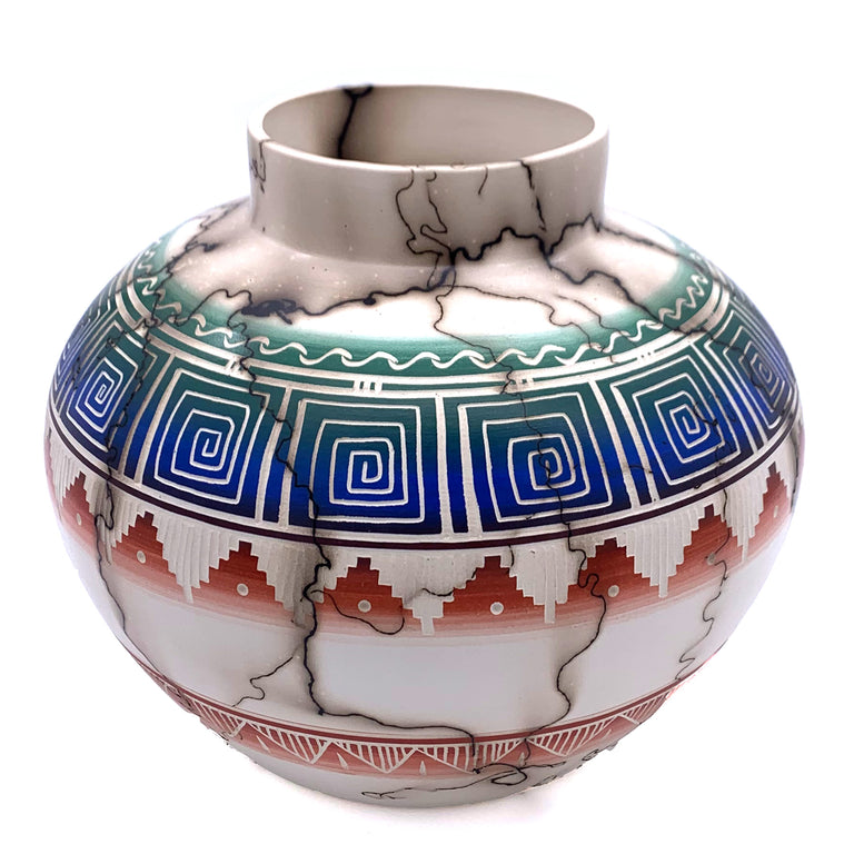 "NAVAJO COLOR BAND POTTERY 10"" WIDE"