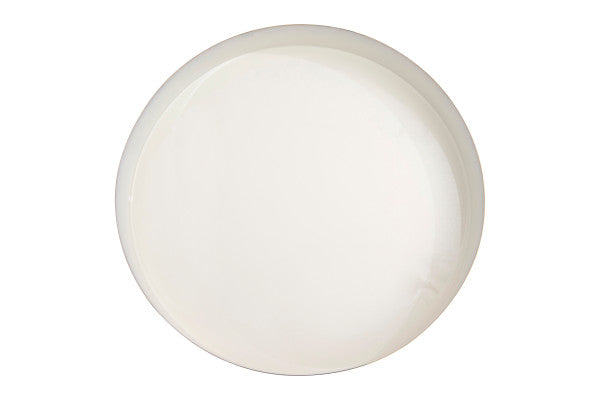 BRASS & WHITE ENAMEL ROUND TRAY