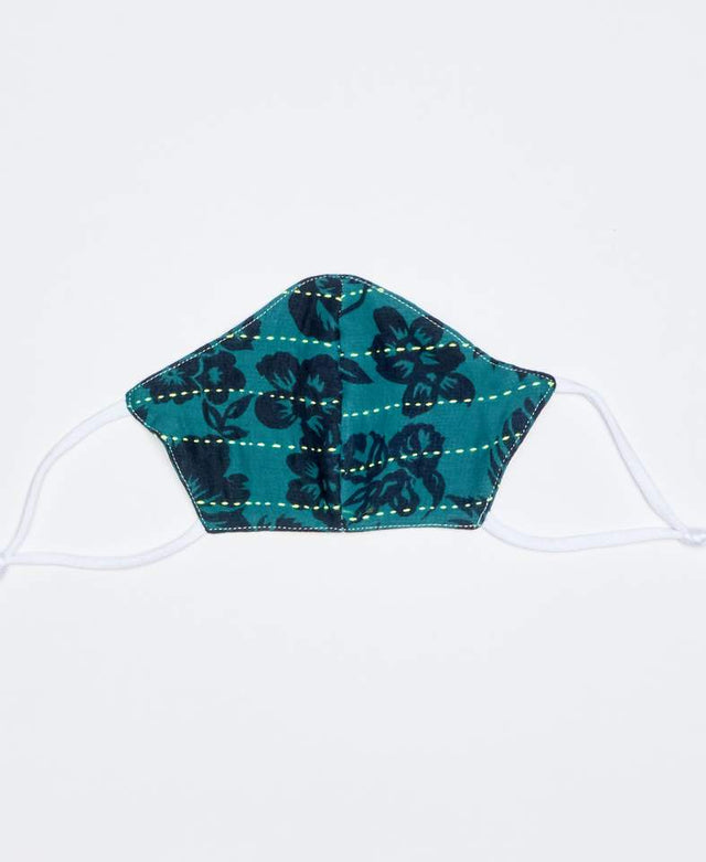 TEAL KANTHA FACE MASK