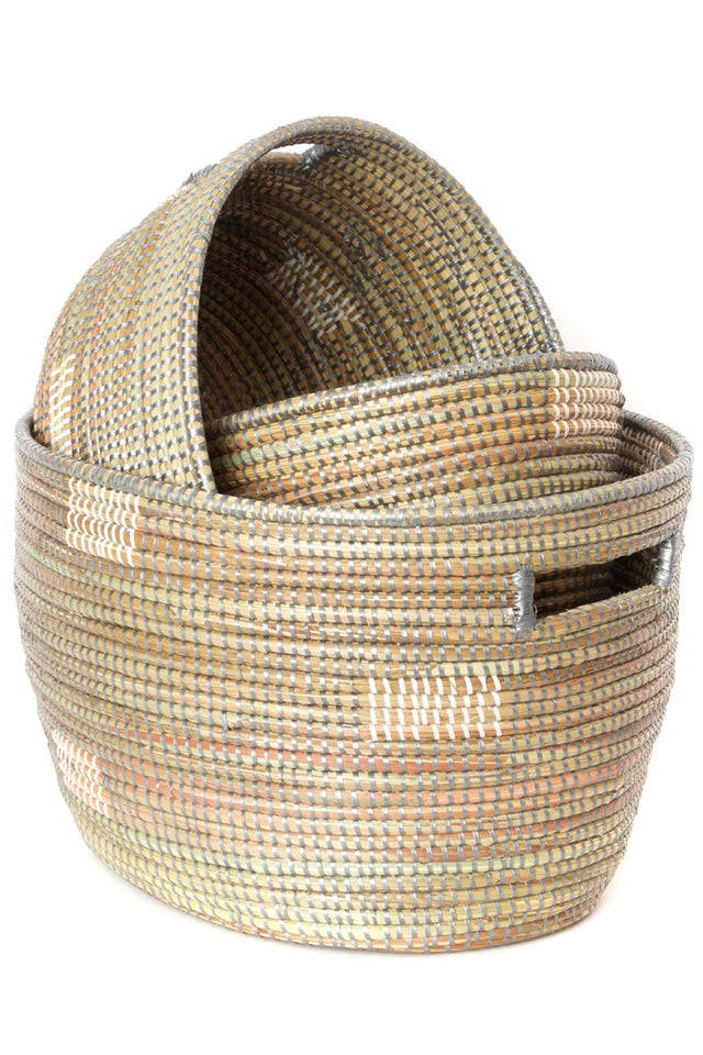 GREY BLOCK NESTING BASKET SET (SENEGAL)