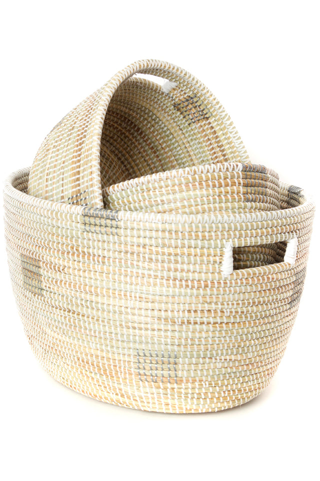 WHITE BLOCK NESTING BASKET SET (SENEGAL)