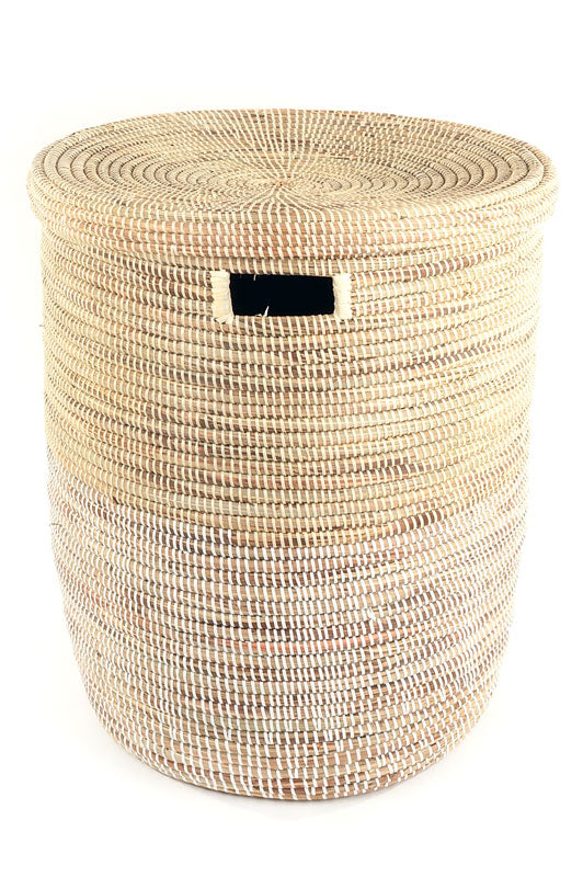 DUO-WHITE FLAT-LIDDED BASKET (SENEGAL)