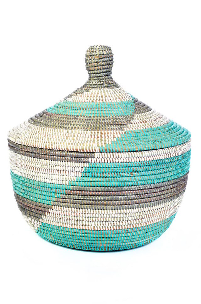 BLUE & SILVER HERRINGBONE CATHEDRAL BASKET <br>(FROM SENEGAL)