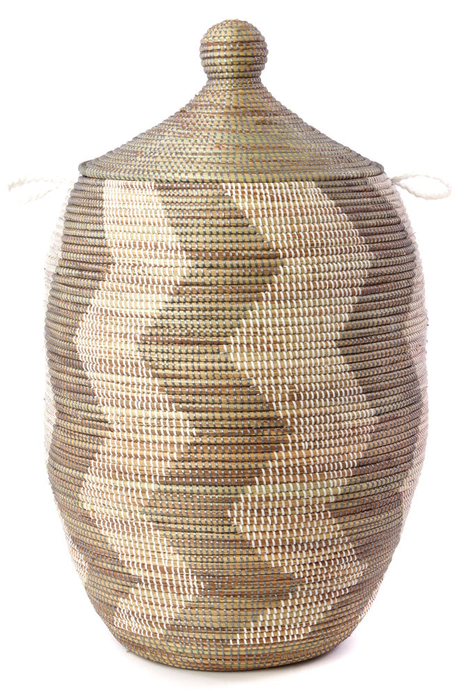 "SILVER & WHITE ZIG BASKET 30"" (SENEGAL) 