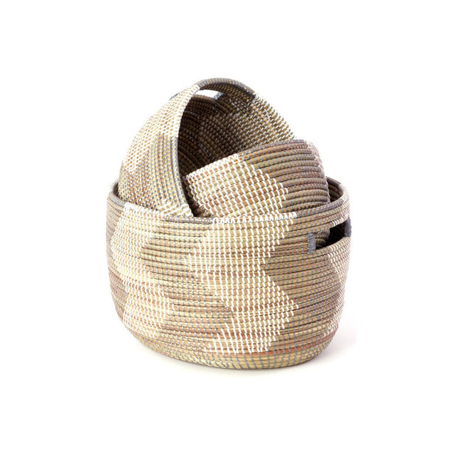 SILVER & WHITE NESTING ZIG BASKETS (SENEGAL)
