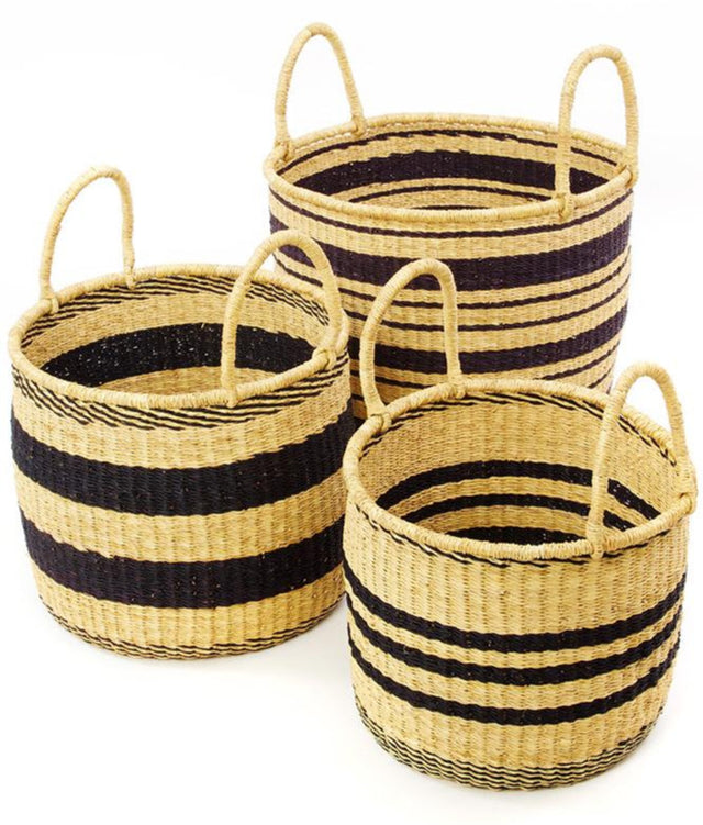 BLACK STRIPED GRASS BASKET SET  (GHANA)