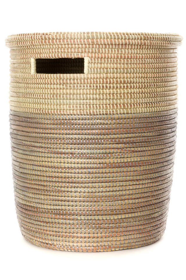 DUO-TONED FLAT-LIDDED BASKET (SENEGAL)