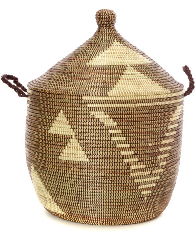 BROWN & IVORY DIAMOND CATHEDRAL BASKET (SENEGAL)