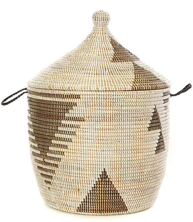 BLACK & WHITE DIAMOND CATHEDRAL BASKET (SENEGAL) | STORAGE