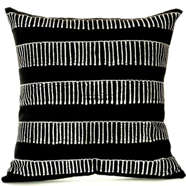 BLACK ZAMBIAN LINEWORK PILLOW <br>(FROM ZAMBIA)