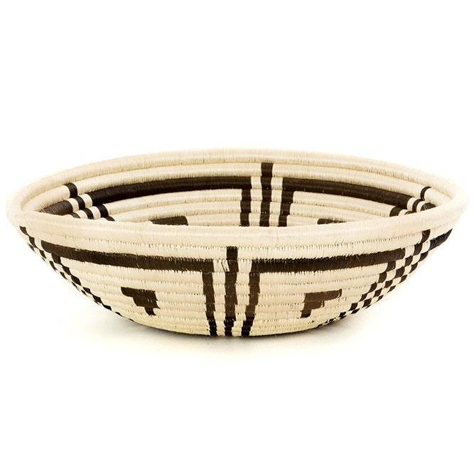 "BLACK LINE BLOSSOM SISAL HIGHLANDS 12"" BASKET <br>(FROM RWANDA)"