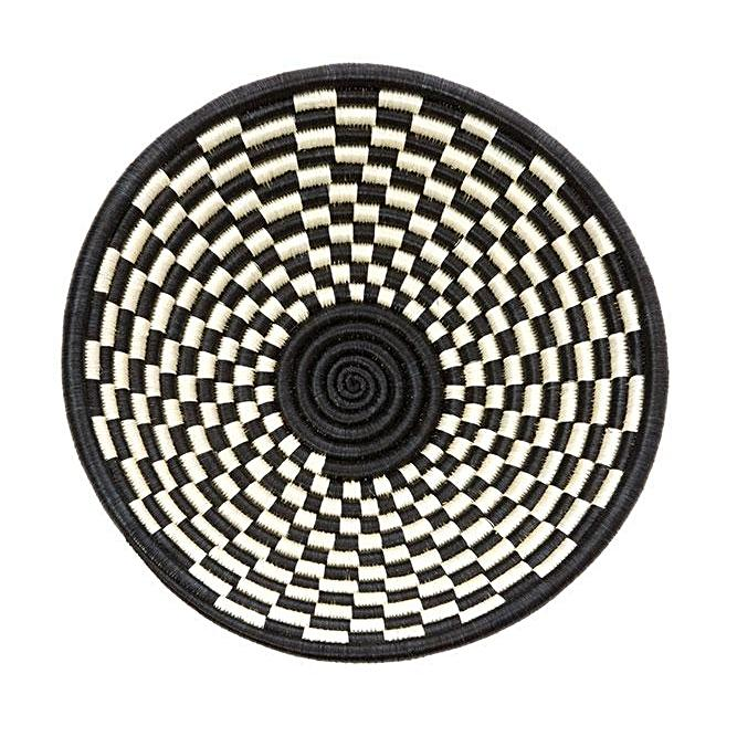 "BLACK CHECK SISAL HIGHLANDS 10"" BASKET (RWANDA)"