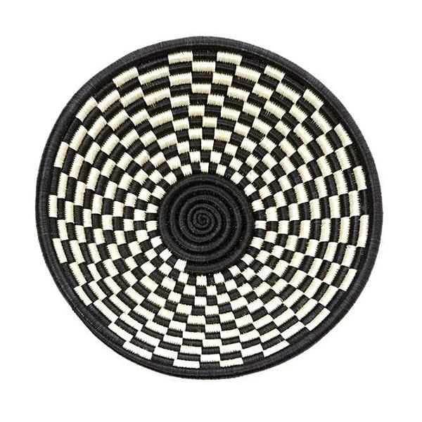 "BLACK CHECK SISAL HIGHLANDS 10"" BASKET (RWANDA) 