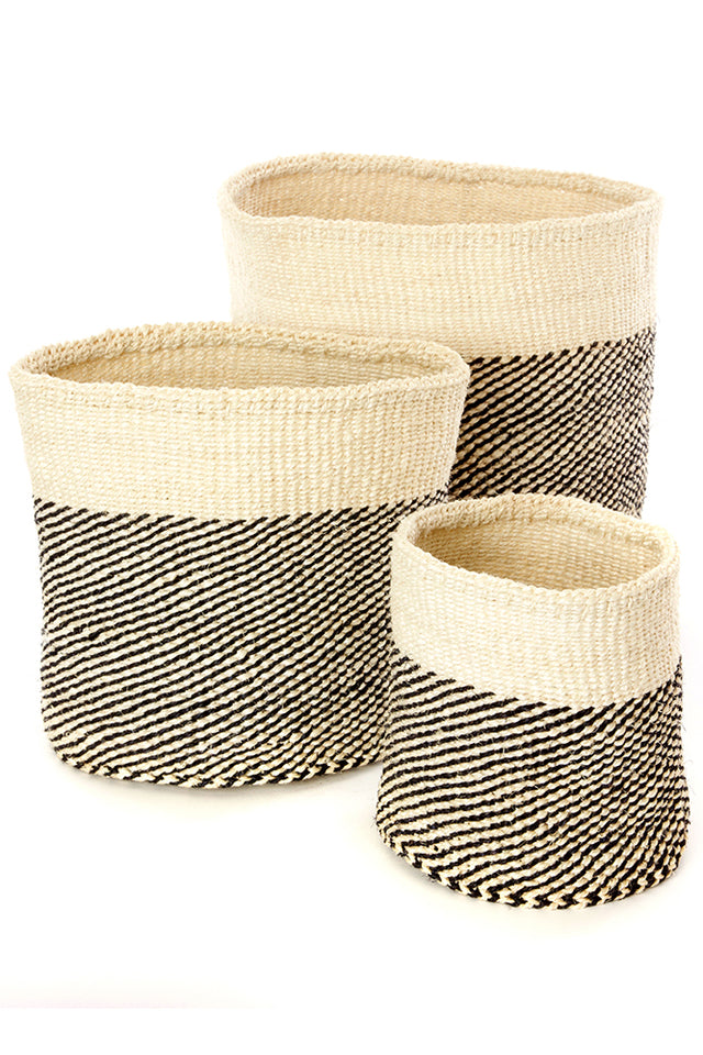 BLACK & IVORY TWILL SISAL NESTING BASKETS <br>(FROM KENYA)