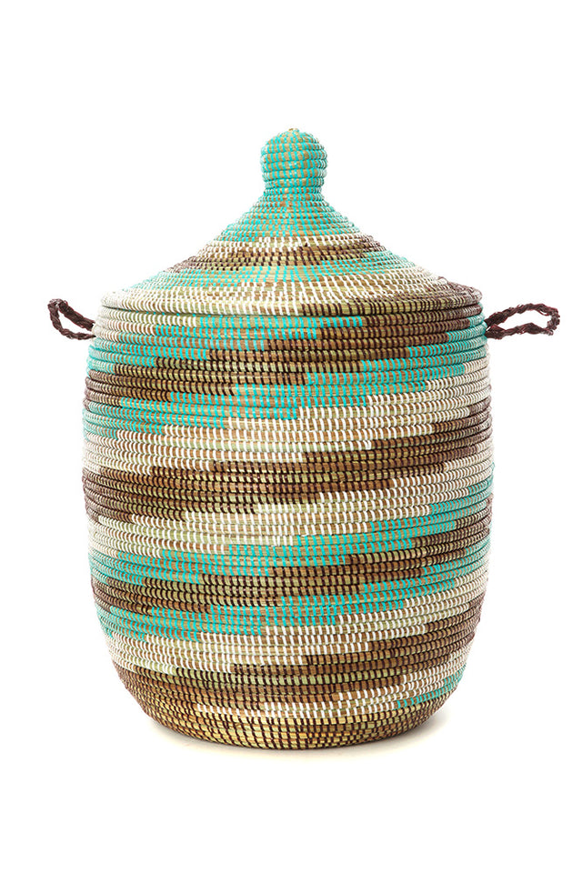 TURQUOISE SWIRL BASKETS     (FROM SENEGAL)