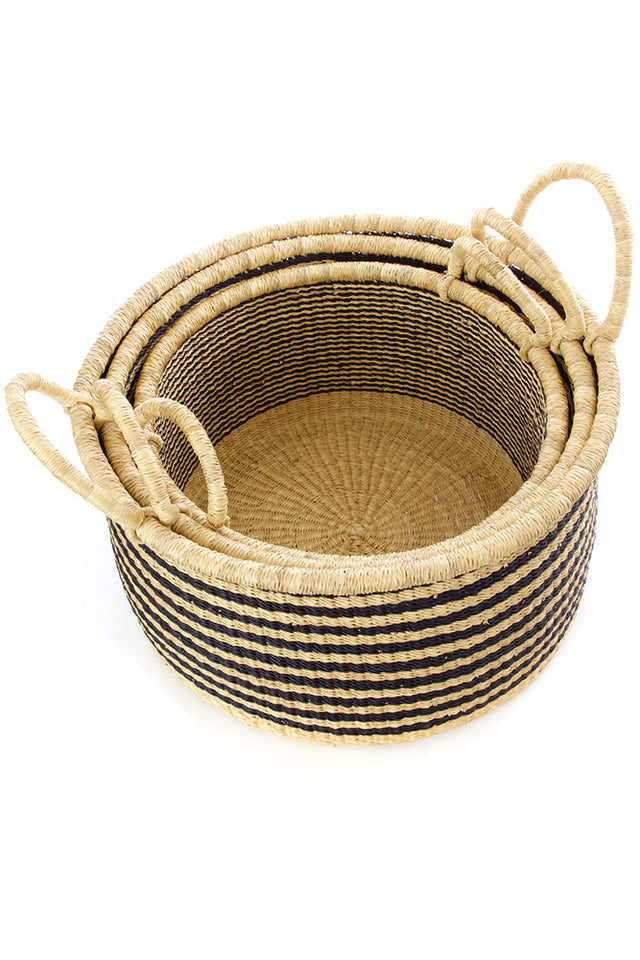 BLACK RAVEN STRIPED GRASS BASKET SET  (GHANA)