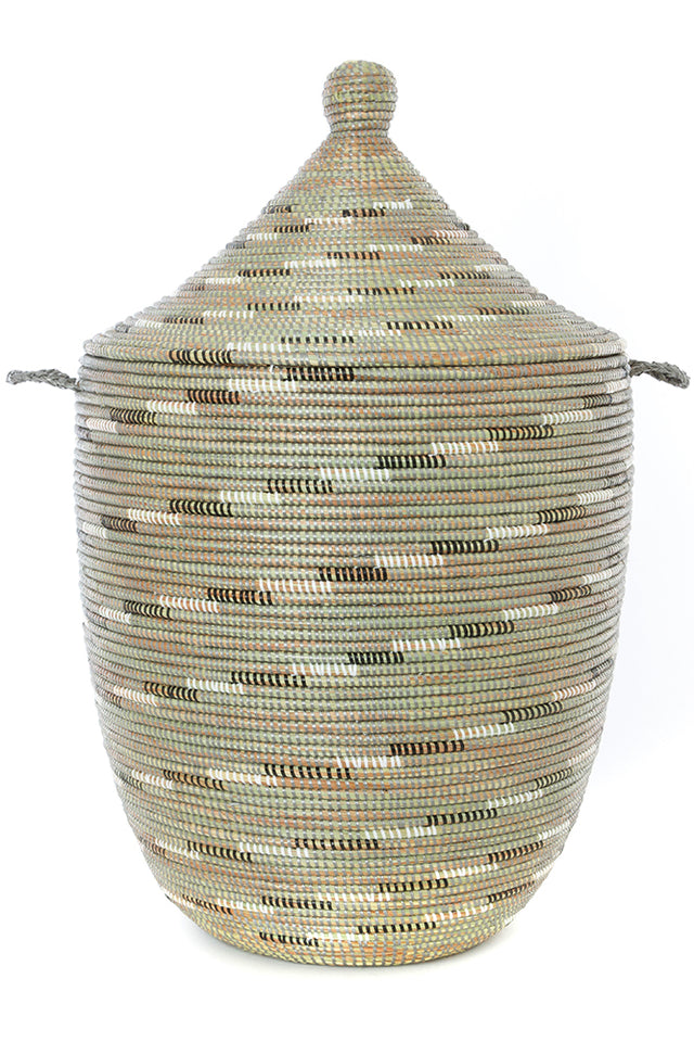 SILVER SWIRL LAUNDRY HAMPER BASKETS (SENEGAL)