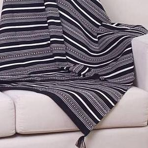 BLACK STRIPE ALPACA SQUARE THROW (from Peru)