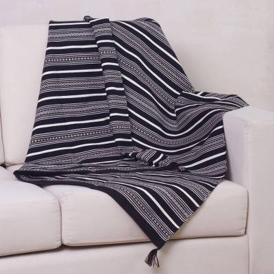 BLACK STRIPE ALPACA SQUARE THROW (Peru)